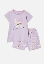 Cotton On - Harpa short sleeve pj set - vintage lilac llama