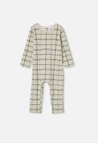 Cotton On - The long sleeve snap romper - dark vanilla sketchy grid