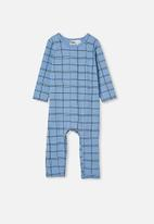 Cotton On - The long sleeve snap romper - powder puff blue sketchy grid
