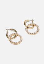 Rubi - Loop the hoop pearl treasures earring - gold