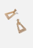 Rubi - Molten treasures triangle earrings  - gold