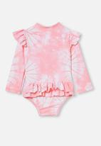 Cotton On - Lucy long sleeve swimsuit - marshmallow pink tie dye
