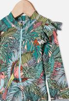 Cotton On - Lucy long sleeve swimsuit - tropical bird party