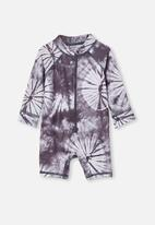 Cotton On - Cameron long sleeve swimsuit - graphite grey tie dye