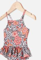 Cotton On - Lucinda ruffle swimsuit - floral ocelot