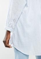 MANGO - Shirt longui - blue & white