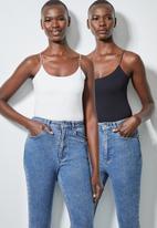 Superbalist - 2 pack elastic strap bodysuit with half shelf - black & white