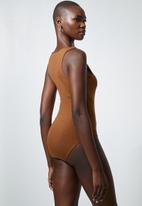 Superbalist - 2 pack cutaway bodysuit - black & tobacco
