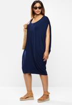 edit Plus - Easy fit drape dress - navy
