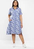 AMANDA LAIRD CHERRY - Relaxed tunic with shirt collar - blue & white