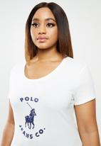 POLO - Plus basic short sleeve distressed print tee - white