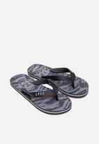 S.P.C.C. - Tortuga fashion printed flip flops - charcoal