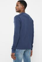 POLO - Pjc ls waffle knit henley - navy