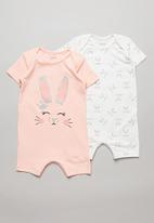 POP CANDY - Girls 2 pack bunny romper - pink & white