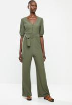 MANGO - Belt long jumpsuit - olive