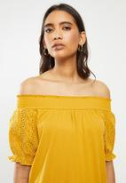 ONLY - Vanna short sleeve dress - yellow