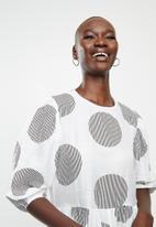 Me&B - Spot tiered dress - white & black