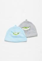 POP CANDY - Baby boys 2 pack beanies - blue & grey