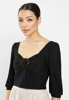 Brave Soul - Long sleeve top with buckle - black