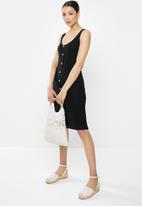 Brave Soul - Button through vest midi dress - black