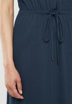 Brave Soul - Short sleeve tie waist midi - navy