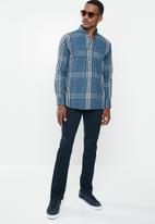 Jonathan D - Casual long sleeve check shirt - blue