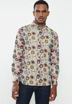 Jonathan D - Casual long sleeve slim fit printed shirts - sand