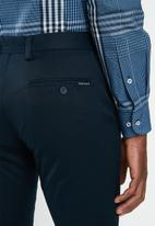 Jonathan D - Stretch cotton trouser with side entry pockets - navy