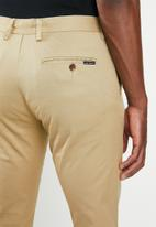 Jonathan D - Stretch cotton trouser with side entry pockets - stone