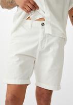 Cotton On - Washed chino short - white
