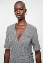 MANGO - Dress borecuad - black & white