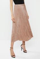 Missguided - Aline plisse midi skirt - pink
