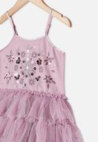Cotton On - Iris dress up dress - chalky mauve tiered floral