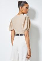 Superbalist - Texture knit puff sleeve top - neutral