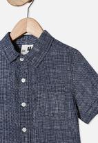 Cotton On - Resort short sleeve shirt - hatcher check & navy white