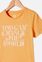 Cotton On - Penelope short sleeve tee - papaya you can change the world