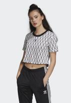 adidas Originals - Cropped T-shirt - white & black