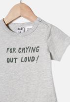 Cotton On - The short sleeve bubbysuit - grey