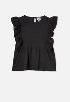 Free by Cotton On - Jade short sleeve frill top - black