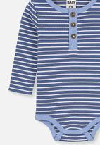 Cotton On - The long sleeve placket bubbysuit - blue