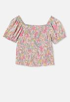 Free by Cotton On - Kate puff sleeve top - multi
