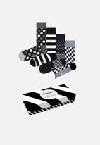 Happy Socks - 4 Pack classic socks gift set - black & white