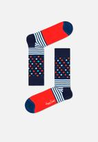 Happy Socks - Stripes and dots sock - navy & red