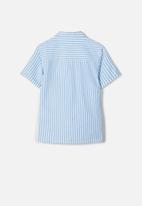 name it - Fugl short sleeve shirt - white & blue