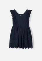 name it - Brodery anglaise dress - navy