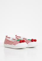 POP CANDY - Girls cherry slip on shoe - red & white