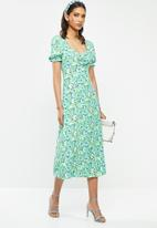 Glamorous - Abstract floral puff sleeve midi dress - multi