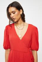 Glamorous - V-neck casual dress - red
