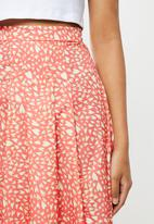 Glamorous - Printed heart midi split skirt - pink & yellow