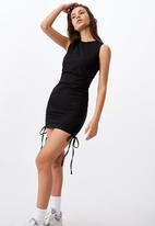 Factorie - Ruched sleeveless dress - black